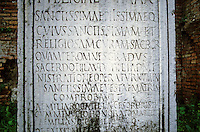 "Italy: Rome--Tablet, Temple of the Vestal Virgins. ...""to the most holy, most pious, whose most holy and religious office I sanctify...steps of the priesthood of the most holy Vesta.""  Aemelia Rogatilia Sororis--Sister."