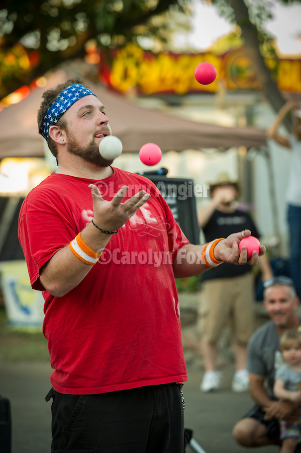 75th Amador County Fair, Plymouth, Calif.<br /> <br /> Spike the juggler and street performer entertains the crowds on Day 3