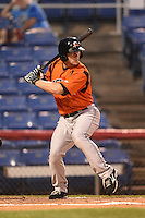 Bowie Baysox designated hitter David Adams (28) at bat during a game against the Binghamton Mets on August 3, 2014 at NYSEG Stadium in Binghamton, New York.  Bowie defeated Binghamton 8-2.  (Mike Janes/Four Seam Images)