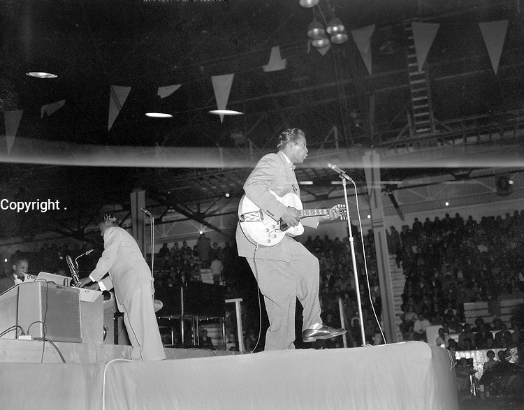 """Chuck Berry performing at the Edmonton Gardens, Alberta, as part of """"The Biggest Show of Stars For '57""""<br /> <br /> PHOTO : Richard G. Proctor Photography"""