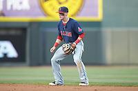Salem Red Sox second baseman Brett Netzer (13) on defense against the Winston-Salem Dash at BB&T Ballpark on April 21, 2018 in Winston-Salem, North Carolina.  The Dash walked-off the Red Sox 4-3.  (Brian Westerholt/Four Seam Images)