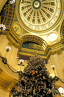 Harrisburg, State Capitol, State House, Pennsylvania, PA, A beautiful Christmas tree decorates The Capitol Rotunda inside The Pennsylvania State Capitol Building in the capital city of Harrisburg.