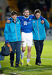 St Johnstone v Kilmarnock…24.11.18…   McDiarmid Park    SPFL<br />Drey Wright is helped off the pitch after picking up an injury<br />Picture by Graeme Hart. <br />Copyright Perthshire Picture Agency<br />Tel: 01738 623350  Mobile: 07990 594431