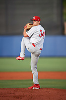 Palm Beach Cardinals starting pitcher Connor Jones (34) delivers a warmup pitch during a game against the Charlotte Stone Crabs on April 11, 2017 at Charlotte Sports Park in Port Charlotte, Florida.  Palm Beach defeated Charlotte 12-6.  (Mike Janes/Four Seam Images)