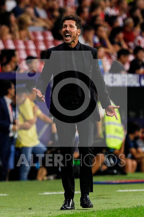 Diego Pablo Simeone coach of Atletico de Madrid in action during La Liga match between Atletico de Madrid and SD Eibar at Wanda Metropolitano Stadium in Madrid, Spain.September 01, 2019. (ALTERPHOTOS/A. Perez Meca)