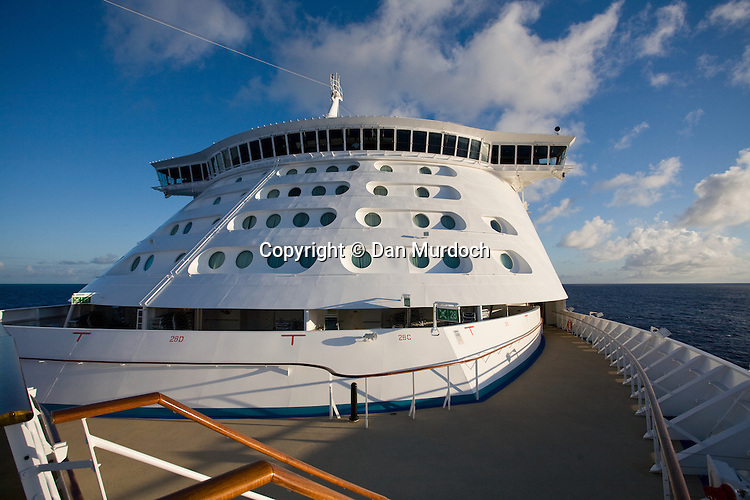 """Walking the decks of the Royal Caribbean cruise ship """"Explorer of the Seas"""". Looking back at the bridge from the bow."""