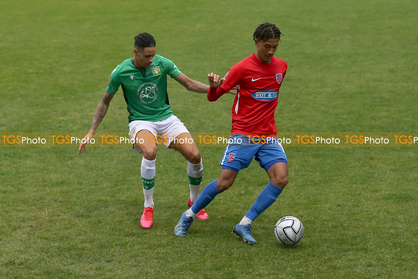 Kai Brown of Dagenham and Redbridge and Daniel Leadbitter of Yeovil Town during Dagenham & Redbridge vs Yeovil Town, Vanarama National League Football at the Chigwell Construction Stadium on 17th October 2020