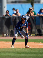 Calvary Christian Academy Eagles Alex Ulloa (8) leads off first base during a game against the IMG Academy Ascenders on March 13, 2021 at IMG Academy in Bradenton, Florida.  (Mike Janes/Four Seam Images)