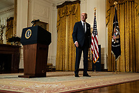 United States President Joe Biden listens to a reporter's question after delivering remarks at a virtual event hosted by the Munich Security Conference in the East Room of the White House in Washington on February 19th, 2021. <br /> CAP/MPI/RS<br /> ©RS/MPI/Capital Pictures