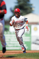 Auburn Doubledays designated hitter Oliver Ortiz (12) running the bases during a game against the Batavia Muckdogs on September 5, 2016 at Dwyer Stadium in Batavia, New York.  Batavia defeated Auburn 4-3. (Mike Janes/Four Seam Images)