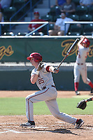 Brad Hartong #25 of the Indiana Hoosiers bats against the Long Beach State Dirtbags at Blair Field on March 15, 2014 in Long Beach, California. Indiana defeated Long Beach State 2-1. (Larry Goren/Four Seam Images)