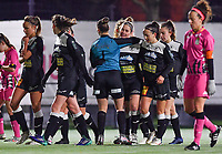 Aalst's Stephanie Van Gils pictured celebrating with her teammates after scoring a goal during a female soccer game between Sporting Charleroi and Eendracht Aalst on the 8th  matchday of the 2020 - 2021 season of Belgian Scooore Womens Super League , friday 20 th of November 2020  in Marcinelle , Belgium . PHOTO SPORTPIX.BE | SPP | DAVID CATRY