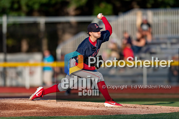 24 August 2019: Lowell Spinners pitcher Chris Murphy on the mound against the Vermont Lake Monsters at Centennial Field in Burlington, Vermont. The Spinners rallied in the 9th inning to overcome a 2-1 deficit and defeat the Lake Monsters 3-2 in NY Penn League play. Mandatory Credit: Ed Wolfstein Photo *** RAW (NEF) Image File Available ***