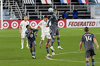 ST PAUL, MN - OCTOBER 28: Cole Bassett #26 of Colorado Rapids  and Jan Gregus #8 of Minnesota United FC battle for the ball during a game between Colorado Rapids and Minnesota United FC at Allianz Field on October 28, 2020 in St Paul, Minnesota.