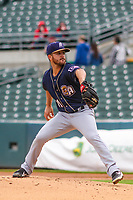 San Antonio Missions pitcher Bubba Derby (11) delivers a pitch during a Pacific Coast League game against the Iowa Cubs on May 2, 2019 at Principal Park in Des Moines, Iowa. Iowa defeated San Antonio 8-6. (Brad Krause/Four Seam Images)