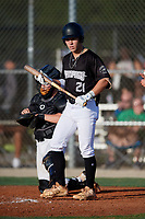 Nicky Fusco (21) during the WWBA World Championship at Lee County Player Development Complex on October 8, 2020 in Fort Myers, Florida.  Nicky Fusco, a resident of West Palm Beach, Florida who attends Forest Hill Community High School.  (Mike Janes/Four Seam Images)