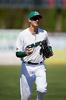 Beloit Snappers left fielder Luke Persico (8) jogs back to the dugout during a game against the Bowling Green Hot Rods on May 7, 2017 at Pohlman Field in Beloit, Wisconsin.  Bowling Green defeated Beloit 6-2.  (Mike Janes/Four Seam Images)