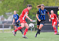 Noemie Gelders (10) of Standard  pictured in a duel with Ellen Martens (2) of Club Brugge  during a female soccer game between Club Brugge Dames YLA and Standard Femine de Liege on the seventh matchday in Play-Off 1 of the 2020 - 2021 season of Belgian Scooore Womens Super League , saturday 15 May 2021  in Brugge , Belgium . PHOTO SPORTPIX.BE | SPP | DAVID CATRY
