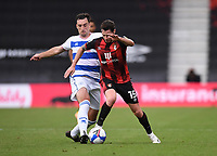 17th October 2020; Vitality Stadium, Bournemouth, Dorset, England; English Football League Championship Football, Bournemouth Athletic versus Queens Park Rangers; Lee Wallace of Queens Park Rangers competes for the ball with Adam Smith of Bournemouth