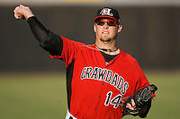 Andrew Doyle #14 of the Hickory Crawdads gets in some work at  L.P. Frans Stadium May 8, 2010, in Hickory, North Carolina.  Photo by Brian Westerholt / Four Seam Images
