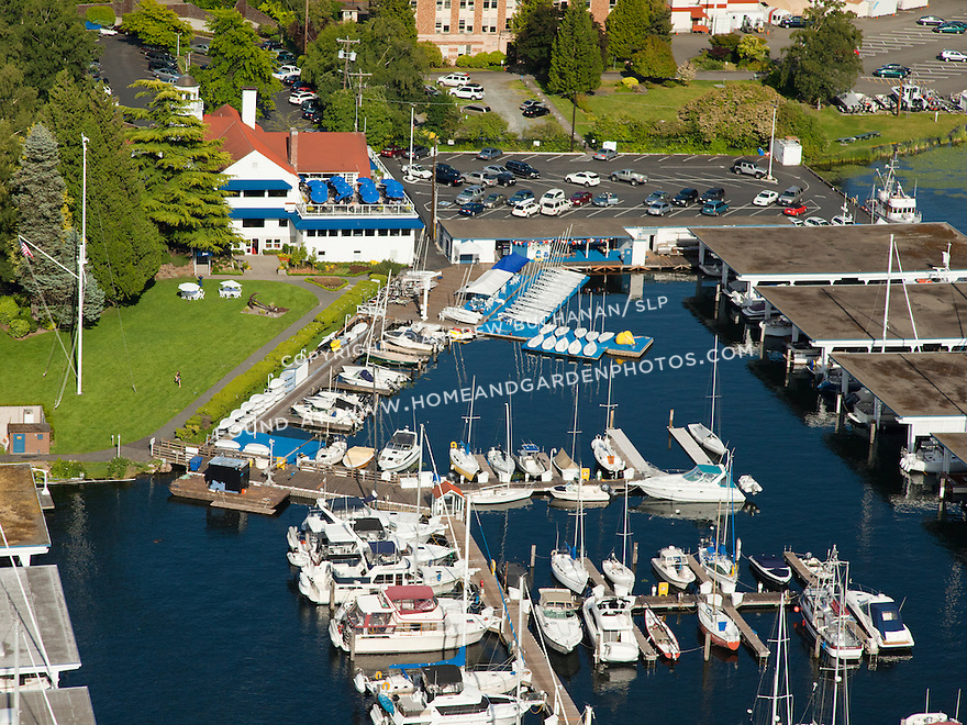 docks and clubhouse of Seattle Yacht Club (SYC) on Portage Bay, Seattle, WA