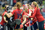 GER - Luebeck, Germany, February 06: After the 1. Bundesliga Damen indoor hockey semi final match at the Final 4 between Berliner HC (blue) and Duesseldorfer HC (red) on February 6, 2016 at Hansehalle Luebeck in Luebeck, Germany. Final score 1-3 (HT 0-1). (Photo by Dirk Markgraf / www.265-images.com) *** Local caption ***