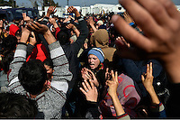 Pictured: Migrants protest at the camp Tuesday 01 March 2016<br /> Re: Thousands of migrants, still stranded at the Greek FYRO Macedonian border in Idomeni, Greece