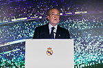 Florentino Perez during the press conference of the official presentation of Zinedine Zidane as new Manager of Real Madrid at Santiago Bernabeu Stadium in Madrid, Spain. March 11, 2019. (ALTERPHOTOS/A. Perez Meca)