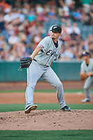 El Paso Chihuahuas starting pitcher Jerry Keel (44) delivers a pitch to the plate against the Salt Lake Bees at Smith's Ballpark on August 13, 2018 in Salt Lake City, Utah. Salt Lake defeated El Paso 4-3. (Stephen Smith/Four Seam Images)