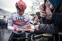 Jasper Philipsen (BEL/UAE Team Emirates) pre race <br /> <br /> 71st Kuurne-Brussel-Kuurne (2019)<br /> Kuurne > Kuurne 201km (BEL)<br /> <br /> ©kramon