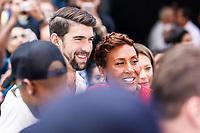 NEW YORK, EUA, 20.07.2017 - MICHAEL-PHELPS - Michael Phels nadador multi-campeão Olimpico é visto durante uma gravação na região da Times Square em Manhattan na manhã desta quinta-feira, 20. (Foto: Vanessa Carvalho/Brazil Photo Press)