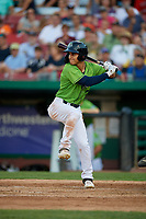 Kane County Cougars Alek Thomas (2) during a Midwest League game against the Dayton Dragons on July 20, 2019 at Northwestern Medicine Field in Geneva, Illinois.  Dayton defeated Kane County 1-0.  (Mike Janes/Four Seam Images)