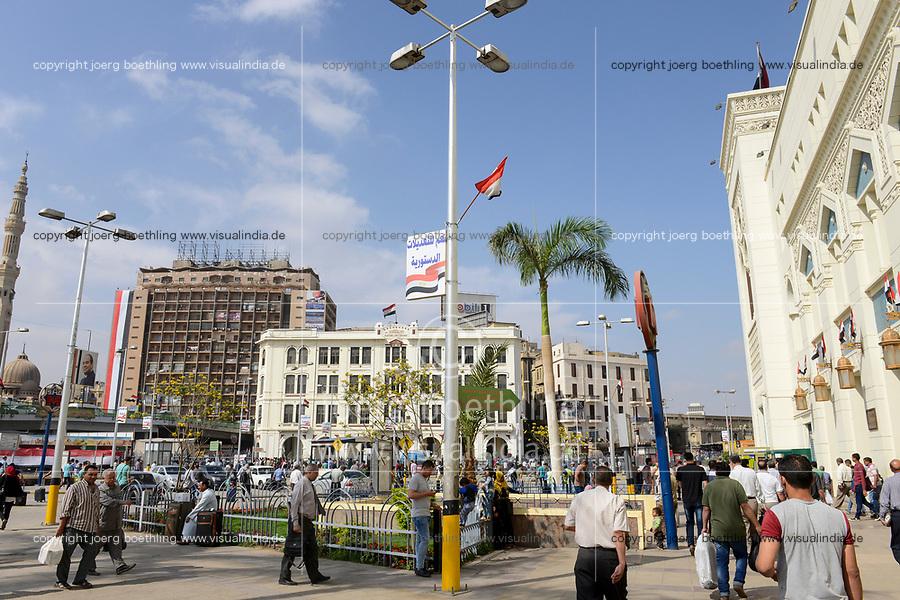 EGYPT, Cairo, Ramses railway station at Ramses Square / ÄGYPTEN, Kairo, Ramses Platz, rechts Ramses Hauptbahnhof