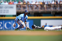 Tampa Bay Rays shortstop Tim Beckham (1) waits to receive a throw during a Spring Training game against the Pittsburgh Pirates on March 10, 2017 at LECOM Park in Bradenton, Florida.  Pittsburgh defeated New York 4-1.  (Mike Janes/Four Seam Images)