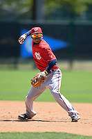 Washington Nationals infielder Willie Medina (17) during practice before a minor league spring training game against the Atlanta Braves on March 26, 2014 at Wide World of Sports in Orlando, Florida.  (Mike Janes/Four Seam Images)