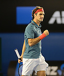 Roger Federer (SUI) defeats Jo Wilfried Tsonga (FRA) 6-3, 7-5, 6-4 at the Australian Open in Melbourne, Australia on January 20, 2014