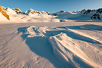 Snow drift on top of Franz Josef Glacier at sunset, Westland Tai Poutini National Park, West Coast, UNESCO World Heritage Area, New Zealand, NZ