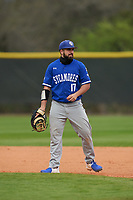 Indiana State Sycamores Miguel Rivera (17) during the teams opening game of the season against the Pitt Panthers on February 19, 2021 at North Charlotte Regional Park in Port Charlotte, Florida.  (Mike Janes/Four Seam Images)