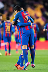Luis Suarez of FC Barcelona celebrates with teammate Arda Turan during their Copa del Rey 2016-17 Semi-final match between FC Barcelona and Atletico de Madrid at the Camp Nou on 07 February 2017 in Barcelona, Spain. Photo by Diego Gonzalez Souto / Power Sport Images