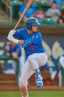 Andy Pages (18) of the Ogden Raptors at bat against the Orem Owlz at Lindquist Field on July 27, 2019 in Ogden, Utah. The Raptors defeated the Owlz 14-1. (Stephen Smith/Four Seam Images)