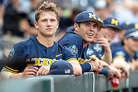 Michigan Wolverines first baseman Matthew Schmidt (9) in the dugout before Game 6 of the NCAA College World Series against the Florida State Seminoles on June 17, 2019 at TD Ameritrade Park in Omaha, Nebraska. Michigan defeated Florida State 2-0. (Andrew Woolley/Four Seam Images)