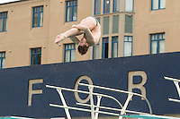 BERKELEY, CA - Feb. 18, 2017: Cal's Connor Callahan dives in the 3 meter competition.  Cal Men's Swimming and Diving competed against Stanford at Spieker Aquatics Complex.