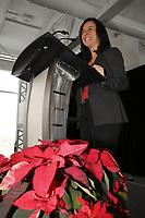 Mme Sylvie Vachon, PDG de l'Administration portuaire de Montreal (APM) remet au capitaine gagnant la Canne a pommeau d'or lors d'une ceremonie officielle au nouveau Terminal de croisieres de l'Administration portuaire de Montreal, le 3 janvier 2018.  Sur la Photo : Mme Sylvie Vachon, PDG de l'Administration portuaire de Montreal (APM) remet au capitaine gagnant la Canne a pommeau d'or lors d'une ceremonie officielle au nouveau Terminal de croisieres de l'Administration portuaire de Montreal, le 3 janvier 2018.<br /> <br /> <br /> Sur la photo : Valerie Plante , mairesse de Montreal<br /> <br /> PHOTO : <br /> Agence Quebec Presse