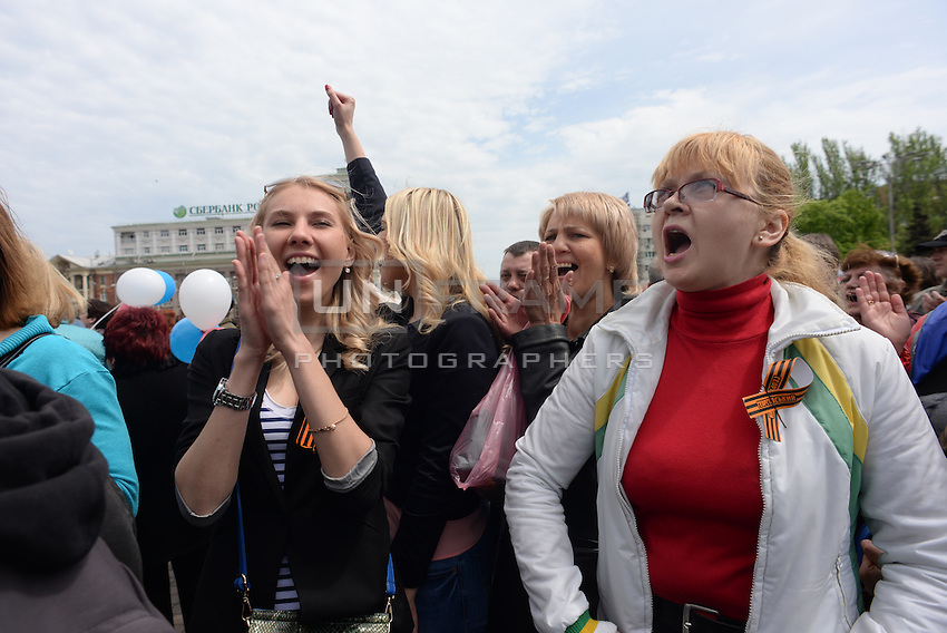 Pro-Russian forces celebrate  the Victory Day, the Soviet holiday commemorating the defeat of the Nazis.  Sunday is May 11, the proposed date for the separatists' referendum on greater autonomy for eastern Ukraine. Donetsk, Ukraine