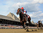 August 29, 2015 : Runhappy, ridden by Edgar Prado, wins the King's Bishop Stakes on Travers Stakes Day in Saratoga Springs, NY. Bob Mayberger/ESW/CSM