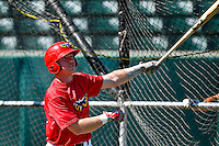 Brennan Morgan (23) of the Orem Owlz takes batting practice before the game against the Grand Junction Rockies in Pioneer League action at Home of the Owlz on July 7, 2016 in Orem, Utah. The Owlz defeated the Rockies 15-3. (Stephen Smith/Four Seam Images)