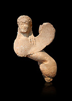 Parian marble Ancient Greek Archaic statue of a Sphnix from Spata, Attica. Circa 540 BC , Athens National Archaeological Museum. Cat no 76. Against black<br /> <br /> Once a grave stele