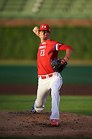 Mason Denaburg (23) of Merritt Island High School in Merritt Island, Florida delivers a pitch during the Under Armour All-American Game presented by Baseball Factory on July 29, 2017 at Wrigley Field in Chicago, Illinois.  (Mike Janes/Four Seam Images)