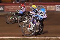 Heat 14: Lewis Bridger (red), Richard Lawson (blue) and Richie Worrall - Vortex Lakeside Hammers vs Kings Lynn Stars - Sky Sports Elite League Speedway at Arena Essex Raceway, Purfleet - 23/04/13 - MANDATORY CREDIT: Gavin Ellis/TGSPHOTO - Self billing applies where appropriate - 0845 094 6026 - contact@tgsphoto.co.uk - NO UNPAID USE.