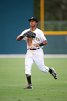 GCL Pirates right fielder Edison Lantigua (10) during a game against the GCL Phillies on August 6, 2016 at Pirate City in Bradenton, Florida.  GCL Phillies defeated the GCL Pirates 4-1.  (Mike Janes/Four Seam Images)